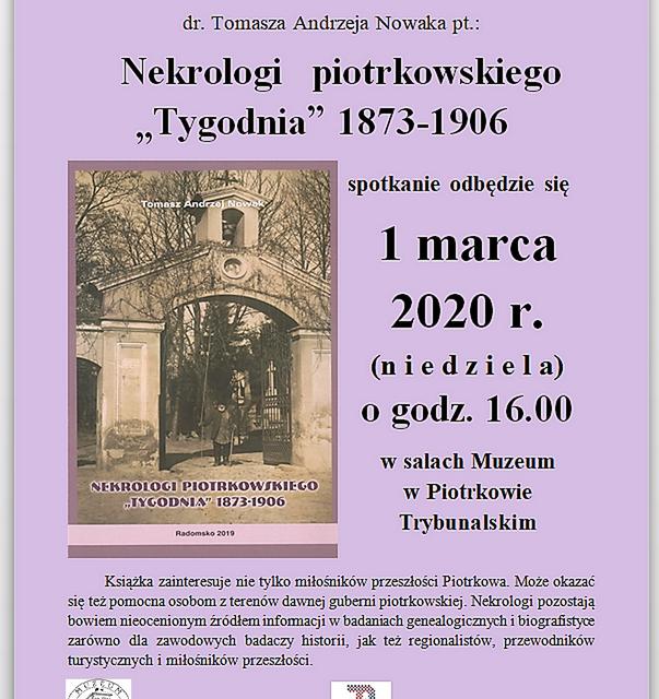 """Promocja książki Tadeusza Andrzeja Nowaka """"nekrologi piotrkowskiego tygodnia 1873-1906"""""""