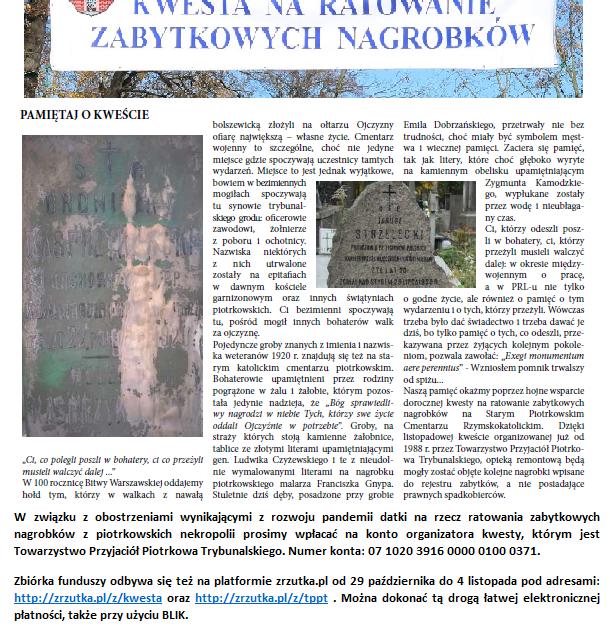 xxxiii kwesta na ratowanie piotrkowskich zabytkowych nagrobków